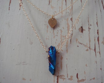 Two Tier Spade & Aura Quartz Necklace
