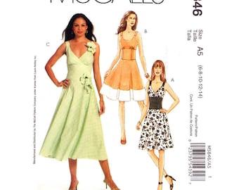 Laura Ashley Dress Sewing Pattern McCalls 5846 Fit & Flare Dress Midriff Band Contrast Hem Womens Size 6 8 10 12 14 UNCUT