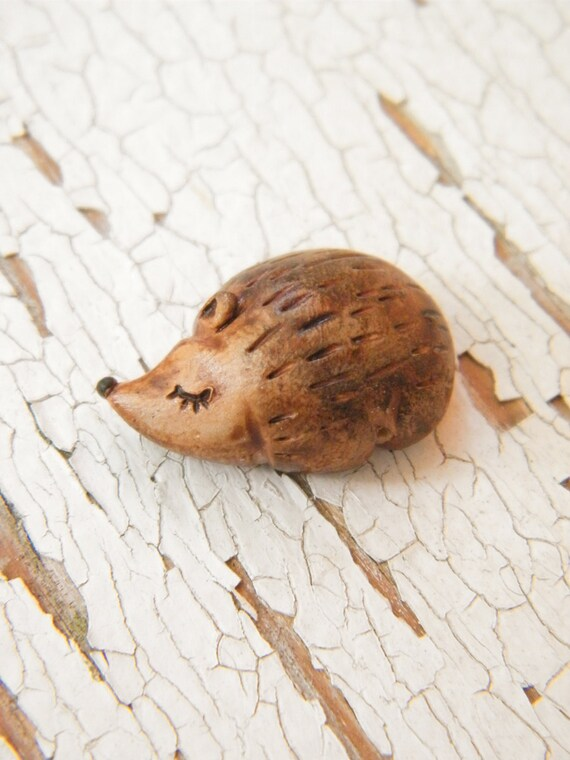 Little Brown Hedgehog bead - Sleepy Woodland Critters hand painted forest animal bead (ready to ship)