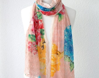 Boho Floral Print Colorful Shawl Scarf Gauze Scarf
