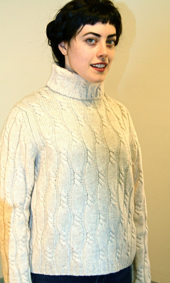Vintage 80s Wool Fisherman Sweater Cable Knit Turtleneck Women's Long Sleeve Oatmeal Cream Thick Warm 100% Lambswool 1980s Ladies Jumper M 6