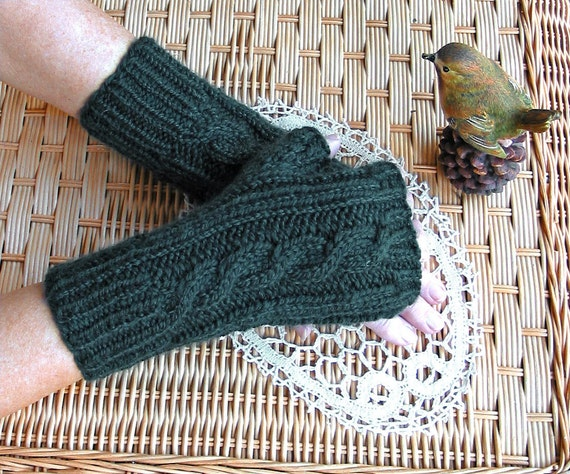 TEAL Fingerless Texting Gloves - Chunky Shetland - Acrylic Wool Blend