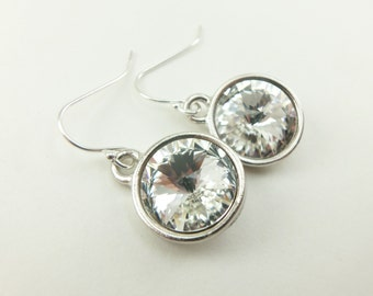Bridal Earrings Sterling Silver Clear Crystal Earrings Wedding Earrings