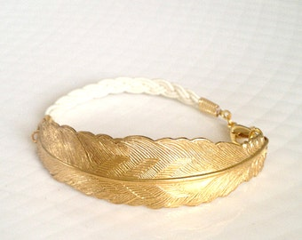 Quinn - Textured Gold Feather and Ivory Cord Bracelet