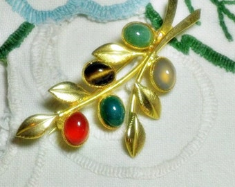 Vintage Gemstone Leaf Brooch Pin  (B-2-4)