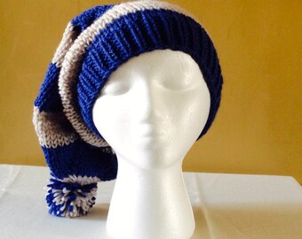Chunky Hand Knit Slouchy Stocking Hat - Ravenclaw Colors - Harry Potter