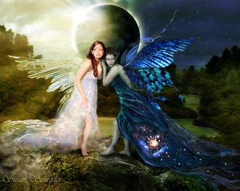 Eclipse at the Edge of Night and Day- by Susan Schroder - Mythic Fantasy Fairy Art Print