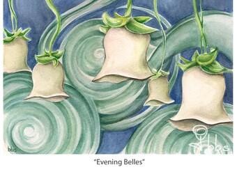 flower watercolor painting, surreal art, white flowers, original artwork, botanical decor, floral art
