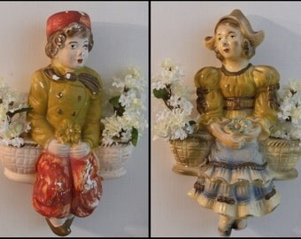vintage Dutch Girl & Boy Chalkware Couple Figural Wall Hanging Statues, Flower Pots, large rustic 3D dimensional Figures Figurines. Gold Red