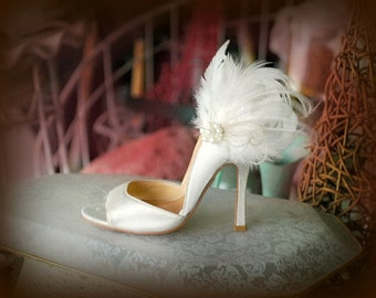 Bridal Shoe Clips Ivory Off White / Champagne / Black Feather Pearl / Rhinestone. Bride Bridesmaid Couture Birthday, Statement Boudoir Party