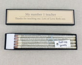 Personalised Teacher set of 5 dictionary pencils. Perfect for your child's favourite or best teacher.