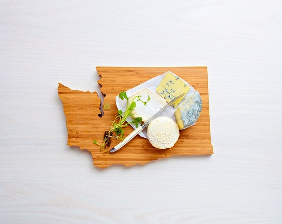 Washington Cutting Board 4th of july Gift Personalized engraved Washington cheese state shaped board