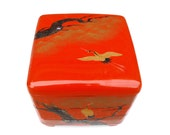1960s Cinnabar Crane Lacquerware Decor Red Tier Chinoiserie Box Handpainted Japanese Sumi-e Gold Pine Mother of Pearl Asian Stacking Storage