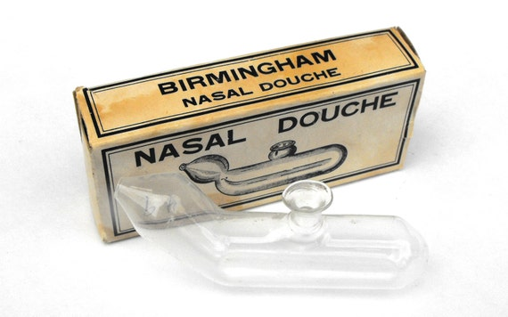 Vintage 1930s Nasal Douche Birmingham Medical Blown Glass Apothecary - Oddity Unique Curious Sinus Woltra New York Made in Japan Nose In Box