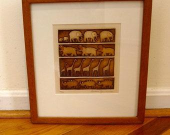 Barbara Garrison Art Original Sepia Intaglio Signed Ltd Ed Listed Artist Children's Book Illustrator Gorgeous Teak Mid Century Frame