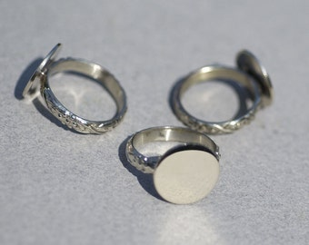 Nickel Silver Ring Vine Grape Wire Pattern with Round Glue Pad for Gluing Blanks - Size 6