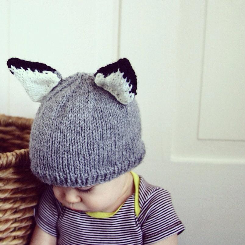 Wolf Knitting Pattern : Baby Wolf Hat Knitting Pattern PDF Instant download Kids Knit