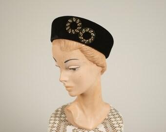1930s velvet deco hat • vintage 30s hat • winter wool hat