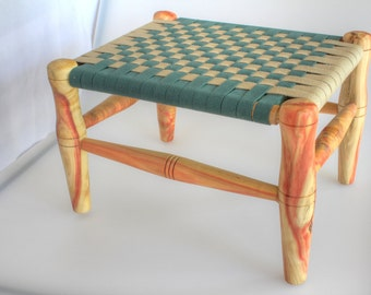 Heirloom Child's Bench or Stool With Woven Shaker Tape Seat