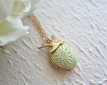 Patina aqua locket necklace.Love photo locket. Verdisgri locket and bird Necklace. Bird Necklace. Turquoise Locket,Gold Bird Locket Necklace