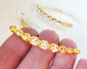 Gold Bracelet Connector - Gold Curved Bar Connector - Necklace Bar link - Clear Rhinestone Sidway - 3 PCS - DIY Bridal Wedding Jewelry