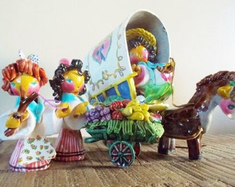 Colorful Pottery Gypsies with  Wagon and Horse