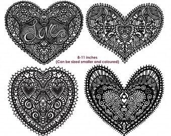 Heart Doilies Clip Art, Lace Mother's Day Heart Graphics, Lace Doily ClipArt, Hand Drawn Design, PNG Silhouettes, Love