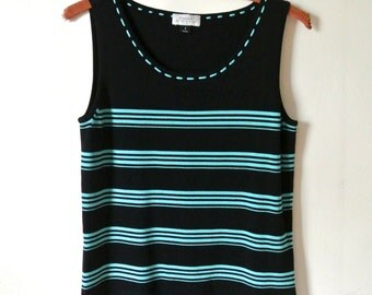 SALE - Vintage Striped Teal and Black Tank Top Horizontal Stripe Sleeveless Shirt Size Small Gift For Her