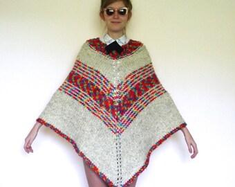 70s Rainbow Striped Knit Sweater Blanket Poncho osfm xs s m l