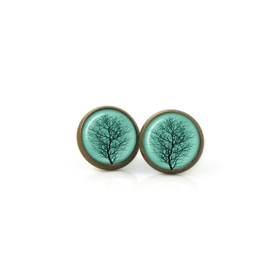 Turquoise, blue and green  Tree Earrings