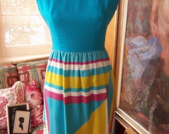 60s Suzy Perette by VICTOR COSTA--Pop Art/Colorblock Dress--Turquoise Linen Shell Top--Pop Art Print Acetate Skirt