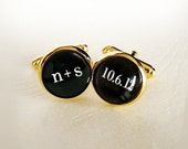 You Plus Me on Our Big Day Cufflinks Custom Personalized Print Initials and Wedding Date - Gold Plated Cuff Links - Groom Fiance Boyfriend