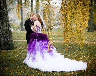 Purple and White Ombre Wedding Dress Strapless with Lace and Organza