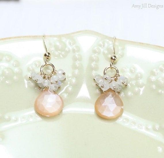 Peach Moonstone Earrings Moonstone Cluster Peach by ...