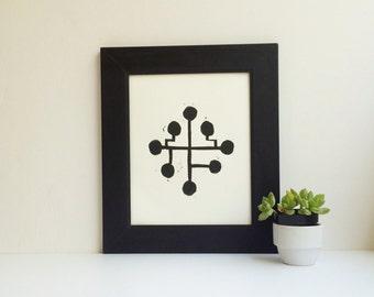 Mid Century Modern linocut art POSTER Black geometric design 8x10