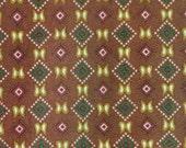 Small Brown Squares, Raschel Knit, Wide Print Fabric, Cream Green Pink, Lightweight Polyester, half yard, B26