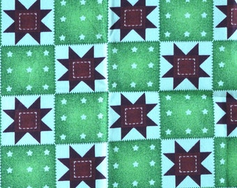 Dark Red Green Patchwork Print, Cotton Quilting Fabric, Signature Classics, Blocks, half yard, B26