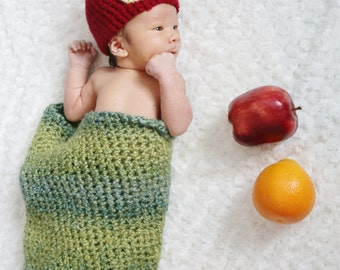 Newborn Hungry Caterpillar Crochet Baby Hat and Cocoon Set (Made to Order)