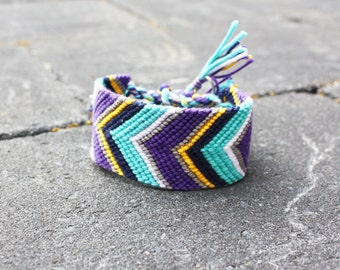 Wide Chevron friendship bracelet - XL Large macramé Boho cuff in modern purple teal grey navy blue yellow white colorful hot sweet