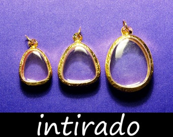 Terrarium Necklace, Gold Tone Pendant, Tear Drop, Talisman, Reliquary, Lockets, Miniatures, Mementos, Cameos, Trays, Engraved Metal, 3pcs