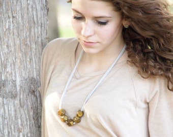 pearlescent golden brown minimalist polyhedron necklace - geometric - modern