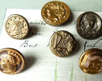 6 Antique Metal Picture Buttons Faces