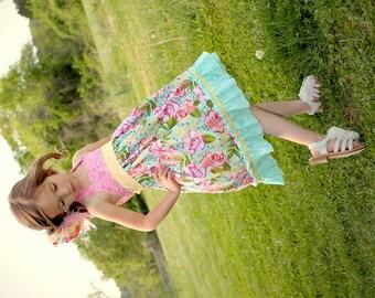 Girls Floral Dress - Girls Boutique Dress - Girls Halter Dress - Summer Dress - Girls Knot Dress - Girls Ruffle Dress - Toddler Dress