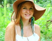 Long feather earrings - peacock, blue and green feathers