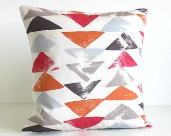 Geometric Pillow Cover, Cushion Cover, Pillow Sham, 16 Inch Pillow Cover, 16x16 Throw Pillow, Pillow Case, Toss Pillow - Pop Triangle Orange