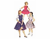 1950s Girls Dress Pattern Advance 7795 Long Waisted Oval Neck Sleeveless Dress Jumper Size 6