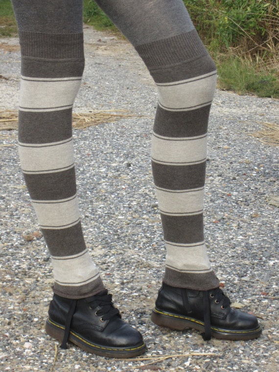 thigh highs boot socks striped leg warmers brown by