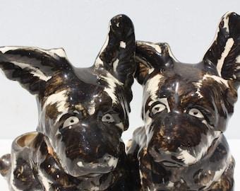 Vintage Dog Planter Scottie Scottish Terrier Matching Pair Ceramic Made In Japan