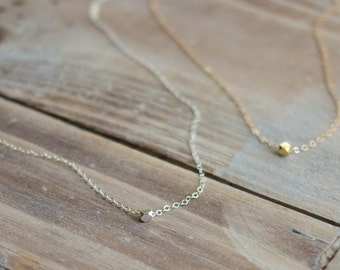 Tiny Nugget Necklace - Sterling Silver - Gold Filled - Mixed Metal - Layering Everyday Necklace - Simple Jewelry