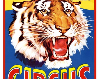 "Circus Poster - Ringling Brothers Circus Tiger  - 13""x19"" or 24""x36"" - Circus print - Three Ring Circus art - Carnival - State Fair poster"